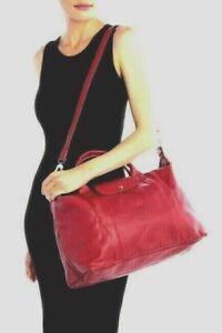 Details about NWT! LONGCHAMP Le Pliage Cuir Red Leather Handbag X-Large