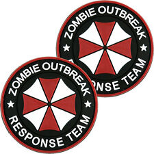 2x PVC Morale Patch Zombie Outbreak Response Team Red 3D Badge Hook #53