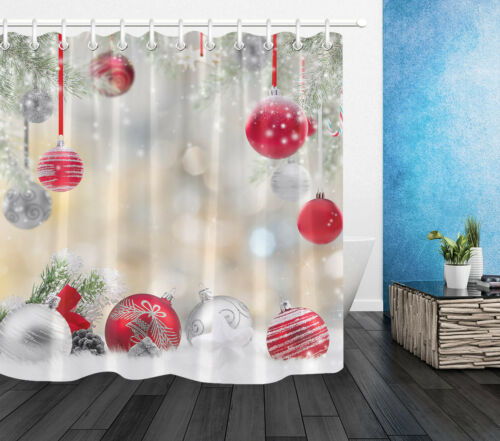 Christmas Ball Winter Snow Shower Curtain Liner Waterproof Fabric Bathroom Hooks