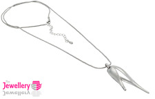 Silver Polished Double Pendant on a long snake chain necklace