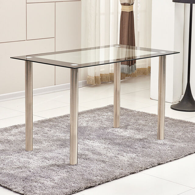 b11326f6d6ba Black Clear Tempered Glass Dining Table with Metal Legs Dining Room Kitchen  Home