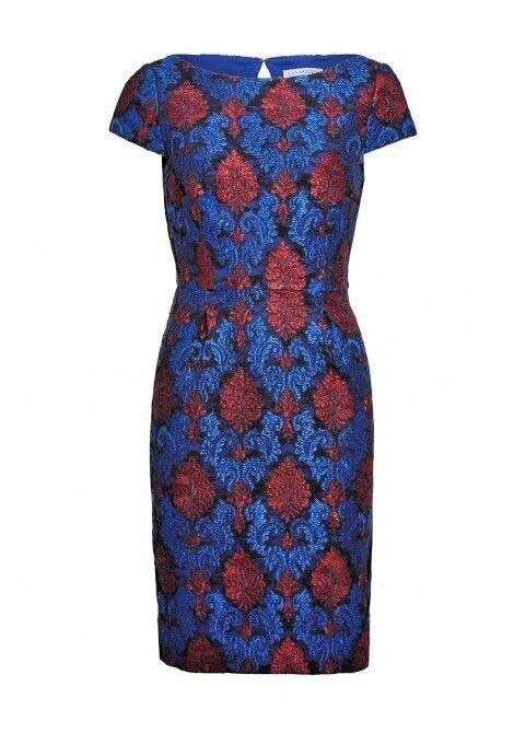 BNWT Gina Bacconi JACQUARD RICAMATO Shift Dress Party Rosso Blu Rrp