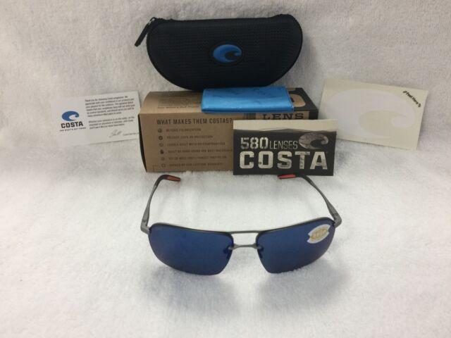 e4d0c64a0f NEW Costa Del Mar Skimmer Polarized Sunglasses Silver Blue SKM 228 OBMP 580P