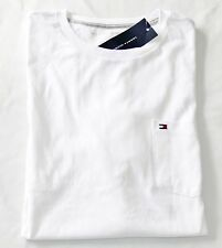 NEW NWT MENS LARGE TOMMY HILFIGER WHITE LOGO POCKET TEE T SHIRT CREW NECK SS
