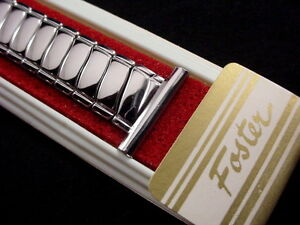 Vintage-NOS-Foster-Flashy-Stainless-Overhand-expansion-watch-band-19mm-3-4-inch