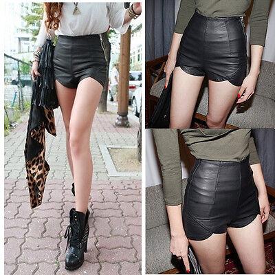 High Waist Women Punk Rock Faux Leather Slim Fit Asymmetric Pants Hot Shorts