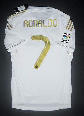 brand new 6aac1 1e422 New 2011/2012 Adidas Real Madrid Cristiano Ronaldo Jersey Shirt Home Gold  White   eBay