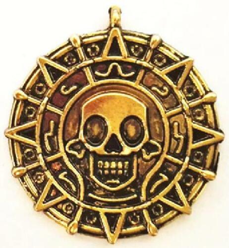 Piratas Del Caribe Azteca moneda de oro Collar Colgante Cosplay Movie Prop