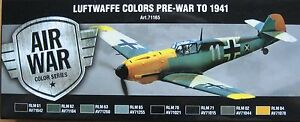 Vallejo-Modele-Air-val71165-pre-WWII-a-1941-Luftwaffe-8-Couleur-Peinture-Set