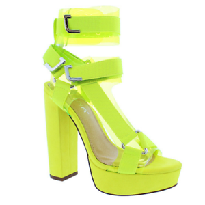 42be68e8582 Image is loading Liliana-GLAMROCK-2-Yellow-Clear-Elastic-Strappy-Platform-