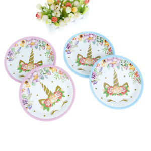 10pcs-unicorn-plates-disposable-paper-plates-dishes-kids-birthday-party-de-GT