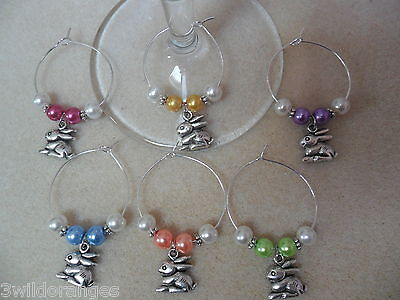 Napkin Rings Set of 6 8 10 or 12 Rabbit Easter Wine Glass Charms