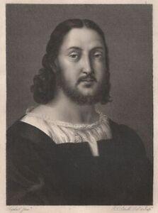 Jean-Louis-Potrelle-Portrait-de-Raphael-Sanzio-Gravure-originale-XIXe