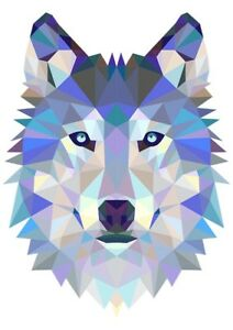 wolf head triangle design t shirt boys girls kids age 3 15 ideal