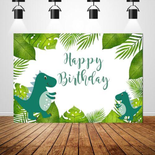Jungle Backdrop Children 1st Birthday Photo Background Dinosaur Party Banner