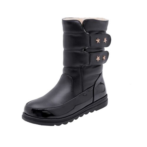 Fashion Womens Winter Sweet Metal Decor Round Toe Mid Calf Boots Warm Snow Boots