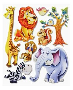 3d wandsticker wandtattoo afrika tiere ii l we elefant affe giraffe kinderzimmer ebay. Black Bedroom Furniture Sets. Home Design Ideas