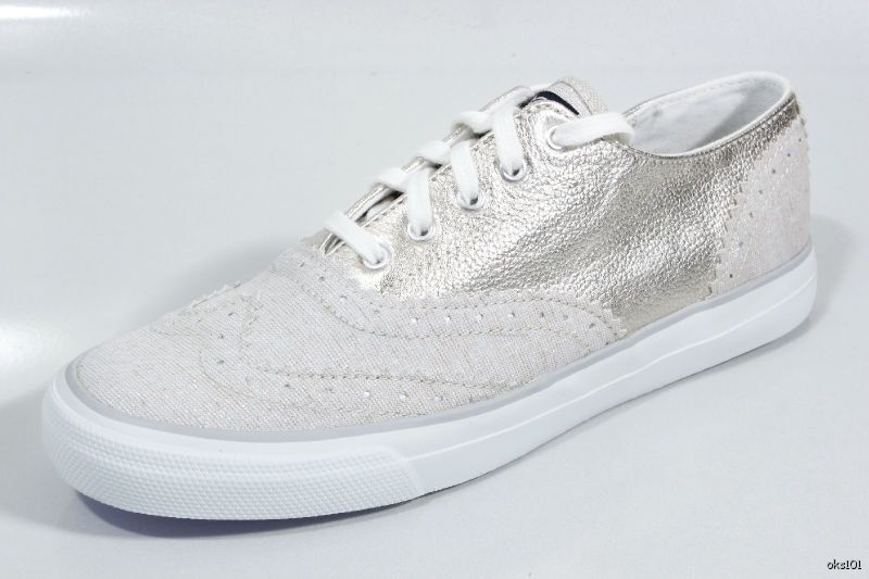 New New New SPERRY Top-Sider womens 'Preston' oxford silver leather flats boat shoes 6b39ca