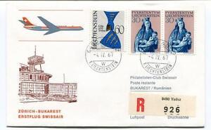 Ffc 1967 Swissair First Flight Zurich Bukarest Rumanien Registered Liechtenstein Les Commandes Sont Les Bienvenues.
