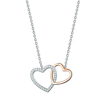 Elegant Solid 925 Sterling Silver Love Heart Pendant Necklace Women Jewellery