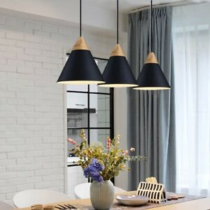 3x Black Pendant Lights Bar Lamp
