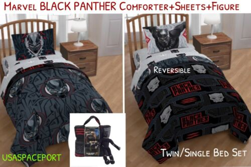 2018 BLACK PANTHER Movie TwinSingle COMFORTER + SHEET SET Bed in a Bag + FIGURE