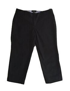 Talbots-Petite-Signature-Capri-Crop-Mid-Rise-Casual-Flat-Front-Black-Pants-10P