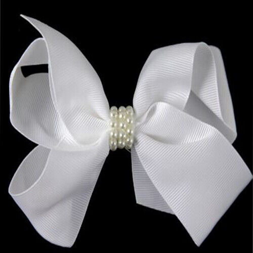 Large Spectator Satin /& Pearl Bow Concords Girl Hair Alligator clip Boutique Bow