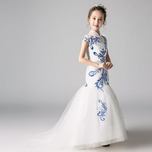 Embroidery Mermaid Flower Fashion Princess Birthday Stand Collar Formal Dress