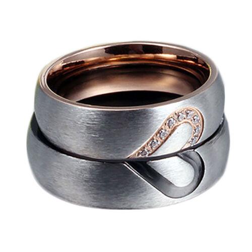 Zircone Cubique couple anneaux Forever Love Coeur Titane Brossé Acier Mariage Promesse Band