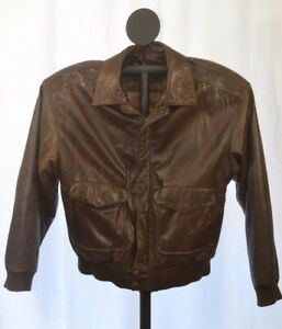 Wilson's Adventure Bound Brown Leather Bomber Jacket M Thinsulate ...