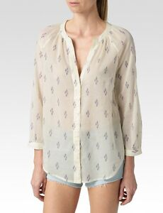 Paige Sammy White Evening Blue Orchid Ikat Blouse Top Size Xs Nwt