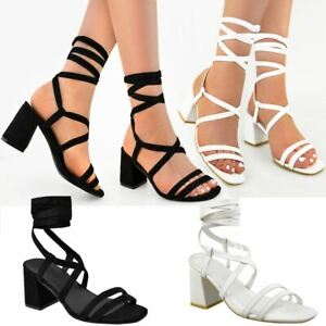 ffbbeae3fa9 Womens Ladies Lace Up Mid Low Block Heel Sandals Strappy Summer ...