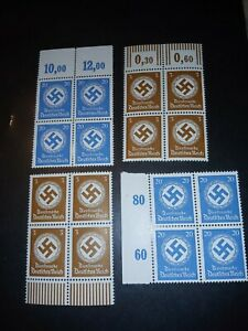 Germany-Stamps-1-Block-of-4-Authentic-Third-Reich-WWII-Nazi-Swastika-Blue-Brown