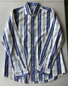 Men-s-BUGATCHI-UOMO-Shaped-Fit-Long-Sleeve-Plaid-Shirt-Pre-Owned-Size-L