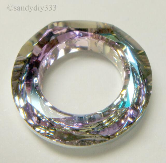 2 Swarovski Element 4439 14mm Square Frame Ring Pendant Crystal Vitrail Light VL