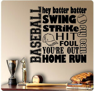 Image Is Loading 24 034 Baseball Sport Saying Collage Wall Decal