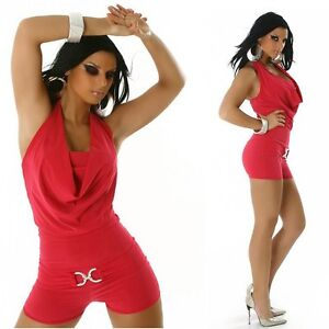 Sexy-Miss-Ladies-Girly-Gogo-Shorty-Clubbing-Hotpant-Overall-Catsuit-XS-S-Top
