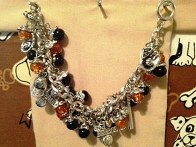 Black & Orange Baseball Charm Bracelet