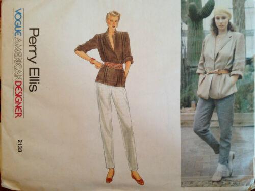 VTG 70s VOGUE Designer 2133 PERRY ELLIS MS Jacket /& Slim Pants PATTERN 6-8 UC