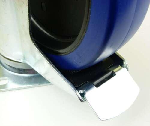 8x 200 mm SL Transportrollen mit Bremse Lenkrollen Blue Wheels Schwerlastrollen