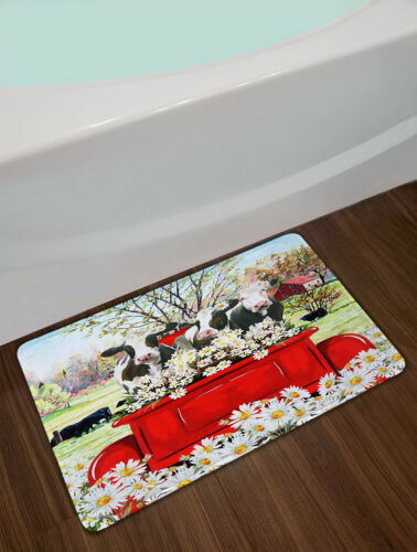 """Daisy Flowers Cows Red Truck Farmhouse Waterproof Fabric Shower Curtain Set 72/"""""""