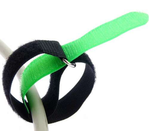 20x Kabelklett Klettband 300 x 20 mm neon grün Klett Kabelbinder Klettbänder Öse