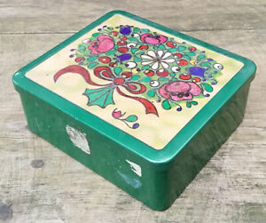 Old Tin Can Coffee Tin Tea Tin Box Can Rifle Box Green Floral Motif Bouquet