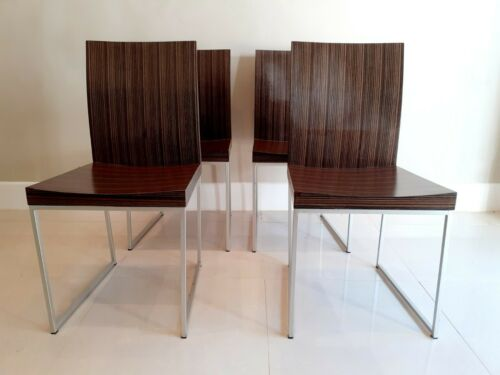 Set Of 4 Macassar Ebony Style and Satin Chrome Dining Chairs
