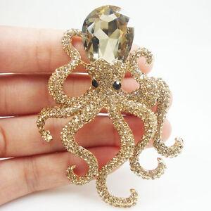 Vintage-Style-Octopus-Topaz-Austria-Crystal-Pendant-Brooch-Pin-Animal-Gold-Tone