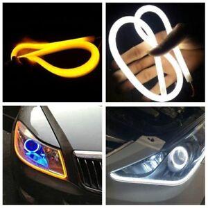 60cm Car Soft Dual Color Tube LED Strip Switchback Headlight DRL Signal Light 2p