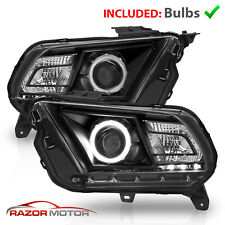 Fit 2010 2014 Ford Mustang Black Housing Halo Led Projector Headlights Fits Mustang