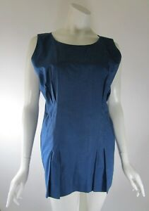 MARNI-Made-in-Italy-Pleated-Sleeveless-Other-Blue-Cotton-Top-Size-44