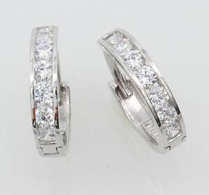 14K Real White Gold 2mm Width 7 stone Channel Set Small Hoop Huggie Earrings
